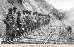 black chain gang on railroad