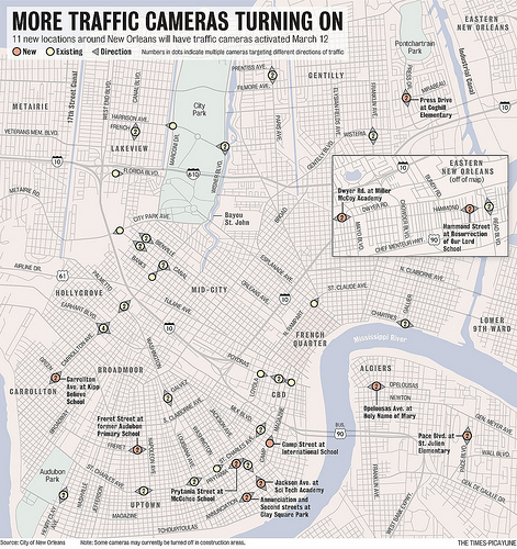 NOLA Map of New Traffic Cameras, 3/3/12
