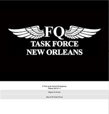 Opening Screen of French Quarter Task Force Mobile App